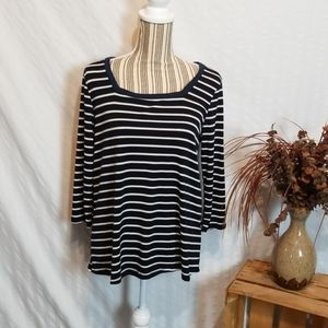Papermoon Black & White Striped Tee with Navy Hem